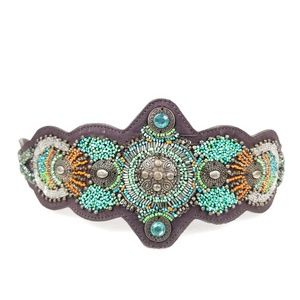 Chicos Beaded Belt Leather Adjustable Brown Wide
